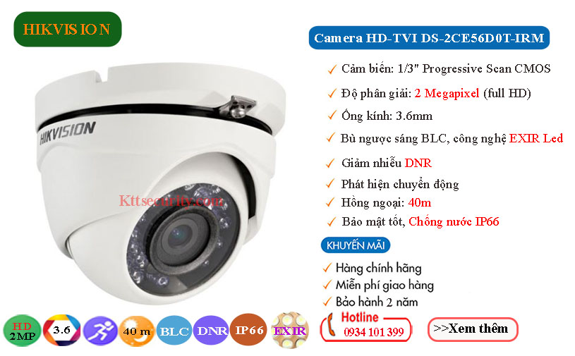 camera hikvision 2mp hdtvi DS-2CE56D0T-IRM