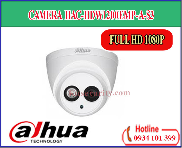 Camera Dahua HAC-HDW1200EMP-A-S3 Full HD 1080P