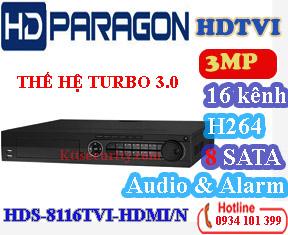 Đầu ghi 16 kênh hdparagon HDS-8116TVI-HDMI/N, 8 SATA