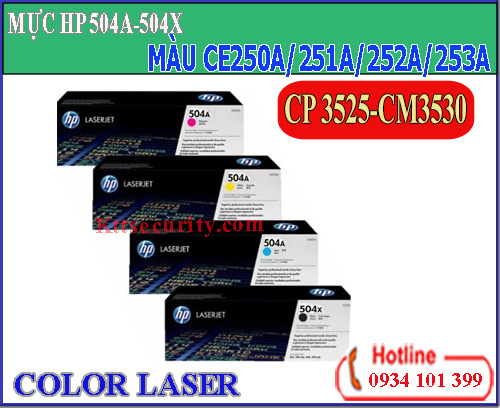 Mực laser màu 504x-504A[CE250A-CE251A-CE252A-CE253A]dùng cho máy CP3525
