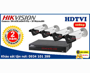Trọn bộ Camera Hikvision 2mp DS-2CE16D0T-IT3+Dahua-XVR5104HS