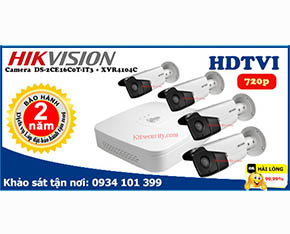 Trọn bộ Camera Hikvision DS-2CE16C0T-IT3+Dahua-XVR4104C