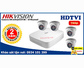 Trọn bộ Camera Hikvision DS-2CE56C0T-IR+Dahua-XVR4104C-S2